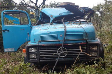 Motorista perde o controle do caminhão após desviar de animal que estava na BR-476