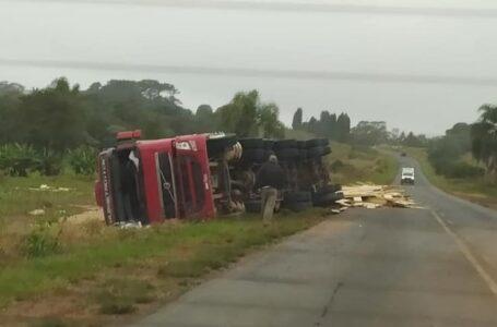 Caminhão carregado com madeiras tomba às margens da PR-151
