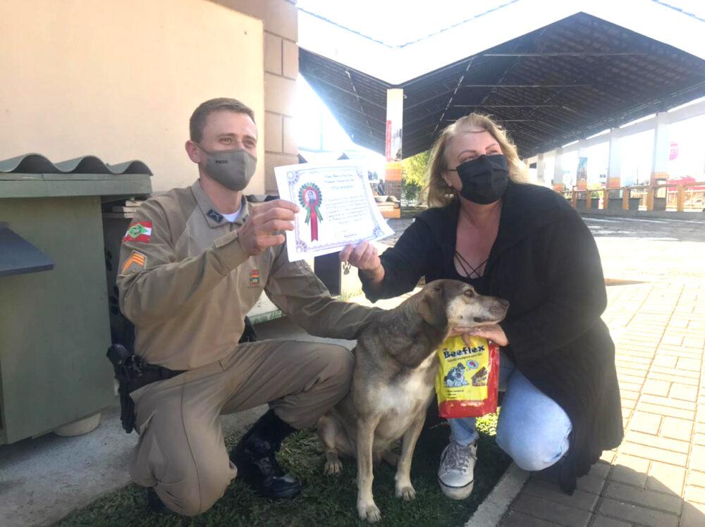 Cão que vive na rodoviária de Porto União realiza  atuação contra roubo e recebe honraria da Polícia Militar