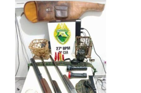 Três pessoas são presas por caça e posse ilegal de armas em São Mateus do Sul