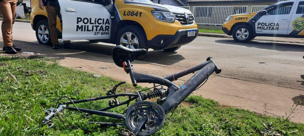 Quadro de bicicleta é encontrado pela PM na Vila Bom Jesus