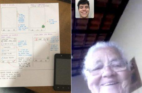 Neto faz tutorial para a avó mexer no celular e viraliza na Internet